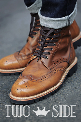 [TWOSIDE]Miller Classic Wingtip Boots(Brown)